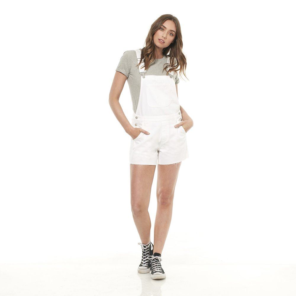 Image of Riders By Lee WHITE IMPACT UTILITY DUNGAREE SHORTS // WHITE IMPACT