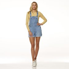 Image of Riders By Lee Filtered Blue UTILITY DUNGAREE SHORT // FILTERED BLUE