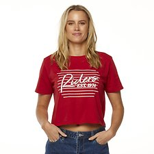 Image of Riders By Lee Pepper Red FINE LINES SKIMMER TEE // PEPPER RED