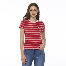 Image of Riders By Lee Bone/Red Stripe SIGNATURE SLIM TEE // BONE/RED STRIPE