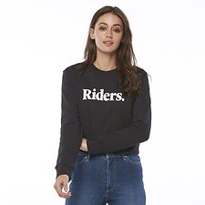Image of Riders By Lee Black Coal IMPRINT CROPPED FLEECE // BLACK COAL