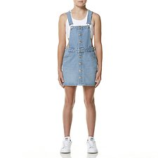 Image of Riders By Lee Summer Vintage DUNGAREE BUTTON DRESS SUMMER VINTAGE