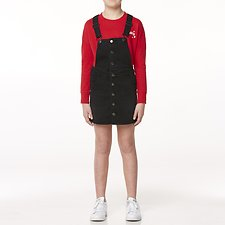 Image of Riders By Lee Licorice Wash BUTTON THRU DUNGAREE DRESS // LICORICE WASH
