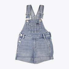 Image of Riders By Lee BLEACHED INDIGO DUNGAREE SHORT BLEACHED INDIGO