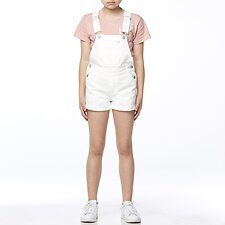 Image of Riders By Lee WHITE OUT DUNGAREE SHORT WHITE OUT